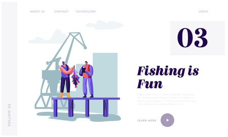 Fisherman Demonstrating Fish Haul to Customer on Pier. Buyer Watching Fishery Catch in Dock Writing Notes. Fishery Industry Website Landing Page, Web Page. Cartoon Flat Vector Illustration, Banner