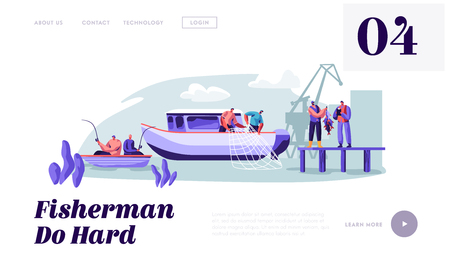 Fishermen Working on Large Boat Ship Catching Fish, Pulling Fishing Net from Sea, Giving Catch to Customer, Fishing Industry. Website Landing Page, Web Page. Cartoon Flat Vector Illustration, Banner Standard-Bild - 123180127