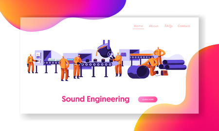 Metallurgy Industry Working Process. Raw Ore Mining, Molten Steel Pouring in Form, Steel Pipe Production Factory Workshop. Website Landing Page, Web Page. Cartoon Flat Vector Illustration, Banner Illustration