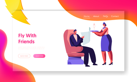 Stewardess Bringing Beverage to Man Comfortably Sitting in Aircraft Armchair. Flight Attendant Serving Passenger in Airplane. Website Landing Page, Web Page. Cartoon Flat Vector Illustration, Banner