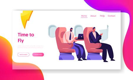 Respectabele zakenlieden zitten in comfortabele vliegtuigstoelen lezen en werken op laptop. Luchtvaartdienst Website Landingspagina, webpagina. Cartoon platte vectorillustratie, banner