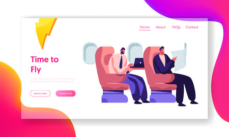 Respectable Businessmen Sitting in Comfortable Airplane Seats Reading and Working on Laptop. Airline Transportation Service Website Landing Page, Web Page. Cartoon Flat Vector Illustration, Banner