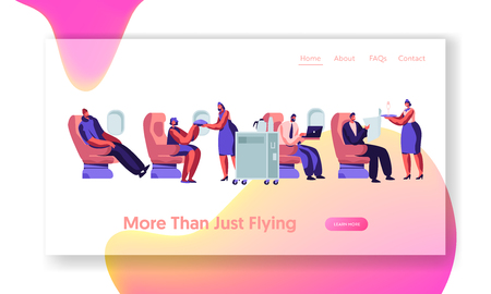 Airplane Crew and Passenger Characters in Plane. Stewardess Giving Meal to People Sitting on Chairs in Aircraft Economy Class. Website Landing Page, Web Page. Cartoon Flat Vector Illustration, Banner