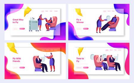 Set of Airline Service Website Landing Page Templates. Airplane Crew and Passenger Characters in Plane. Stewardess Serving People in Economy Class. Web Page. Cartoon Flat Vector Illustration, Banner