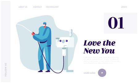 Plastic Surgery Doctor in Uniform Holding Liposuction Machine Tool in Hands. Beauty and Healthcare Concept for Medical Clinic Website Landing Page, Web Page. Cartoon Flat Vector Illustration, Banner