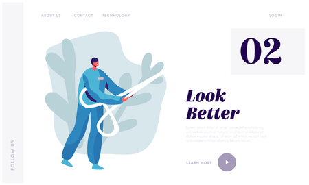 Plastic Surgery Doctor Character in Uniform Holding Huge Scissors in Hands. Beauty and Healthcare Concept for Medical Clinic Website Landing Page, Web Page. Cartoon Flat Vector Illustration, Banner