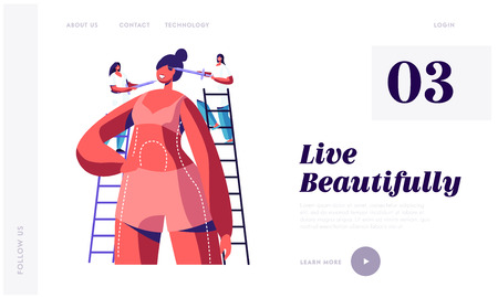 Plastic Surgery Doctors Put Injections in Woman Face Standing on Ladders at Huge Patient Body Preparing for Cosmetic Procedure. Website Landing Page, Web Page. Cartoon Flat Vector Illustration, Banner Banco de Imagens - 123180139