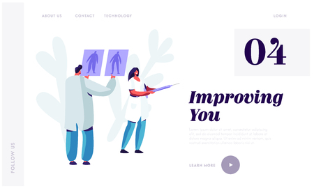 Plastic Surgery Doctor in White Robe Learning Pictures of Male and Female Patient Body Preparing for Beauty Cosmetics Procedure Website Landing Page, Web Page. Cartoon Flat Vector Illustration, Banner