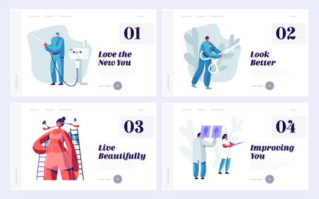 Set of Website Landing Page Templates for Beauty Medical or Plastic Surgery Clinic. Doctor and Patient Working Process, Beauty Medicine Industry Web Page. Cartoon Flat Vector Illustration, Banner Imagens - 123180141