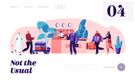 Hospitality Service. Clerks and Receptionist Meeting Guests in Hotel. Businessman Take Room Key. Stuff Meeting Lodgers in Lobby Website Landing Page, Web Page. Cartoon Flat Vector Illustration, Banner