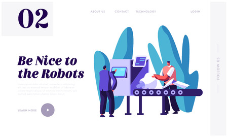 Engineers Male Characters Set Up Part of Robot on Conveyor Belt. Artificial Intelligence Develop and Assembly Technology. Website Landing Page, Web Page. Cartoon Flat Vector Illustration, Banner