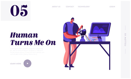 Engineer Creating Robot. Young Man Scientist Working with Robotics Head Lying on Table in Laboratory with Hi-Tech Equipment Website Landing Page, Web Page. Cartoon Flat Vector Illustration, Banner Vektorové ilustrace