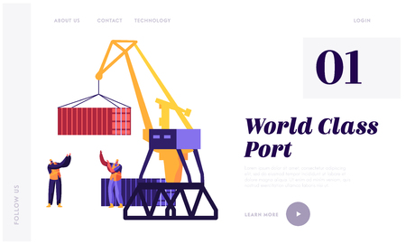 Sea Transportation and Logistic Infographics. Seaport Harbour Lift Crane Loading Container and Sea Port Workers Control Process Website Landing Page, Web Page. Cartoon Flat Vector Illustration, Banner Illustration