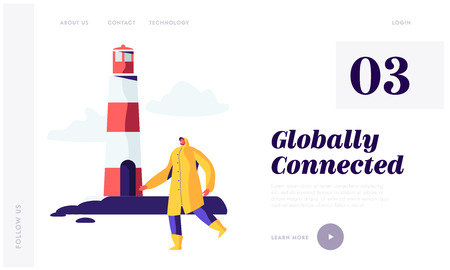 Seaport Worker in Yellow Cloak Walk near Lighthouse in Harbor Yard.Fisherman Male Character Maritime Profession, Occupation Website Landing Page, Web Page. Cartoon Flat Vector Illustration, Banner Illustration