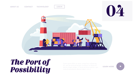 Global Maritime Logistic. Shipping Port with Harbor Crane Loading Container and Seaport Workers Carry Boxes from Truck in Docks Website Landing Page, Web Page. Cartoon Flat Vector Illustration, Banner