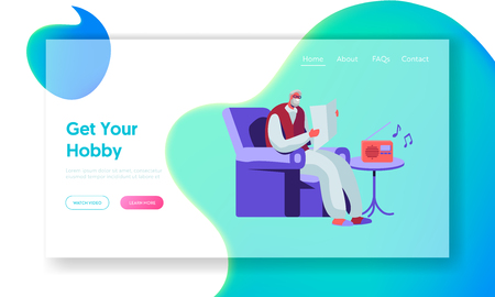Senior Man Reading Newspaper in Armchair and Listening Music on Radio. Aged Male Character Hobby and Leisure in Nursing Home. Website Landing Page, Web Page. Cartoon Flat Vector Illustration, Banner