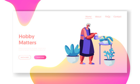 Aged Woman in Apron Caring of Home Plants in Pots. Senior Lady Gardening Hobby. Old Lady Watering Domestic Flowers at Home Website Landing Page, Web Page. Cartoon Flat Vector Illustration, Banner Ilustracja