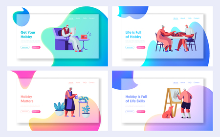 Set of Senior People Hobby and Active Lifestyle. Elderly Characters Recreation. Listening Music, Painting, Playing Chess, Knit. Website Landing Page, Web Page. Cartoon Flat Vector Illustration, Banner Illustration