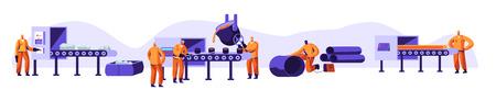 Ensemble de l'industrie de la métallurgie. Extraction de ressources, fusion de métal dans une grande fonderie, coulée d'acier à chaud dans une aciérie. Atelier d'usine. Travailleurs de l'acier dans le processus de métallurgie. Illustration vectorielle plane de dessin animé