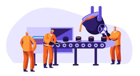 Travailleurs de l'industrie de la métallurgie en uniforme fondant le métal dans la grande fonderie et versant de l'acier ou du minerai de fer fondu à chaud sous forme pendant le processus de fusion, illustration vectorielle plane de dessin animé de société de production de métaux Vecteurs