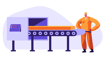 Metallurgy Worker Watching on Conveyor Belt Carrying Steel or Iron Workpiece Making Quality Control on Factory. Heavy Industry, Metal and Alloy Production Company. Cartoon Flat Vector Illustration