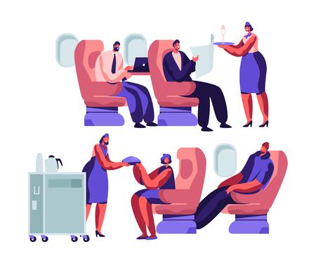 Personajes de pasajeros y tripulación de avión en avión. Azafata dando comida a personas felices sentadas en sillas en clase económica de aviones. Ilustración de Vector plano de dibujos animados de servicio de transporte de aerolínea