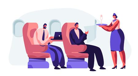 Auxiliar de vuelo que atiende al pasajero en avión. Azafata en bandeja de sujeción uniforme con vidrio llevando bebida al hombre cómodamente sentado en el sillón. Tripulación de la Junta de Vuelo. Ilustración de Vector plano de dibujos animados