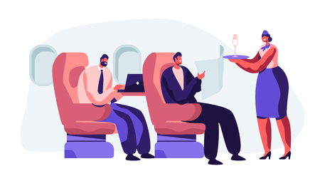 Flight Attendant Serving Passenger in Airplane. Stewardess in Uniform Holding Tray with Glass Bringing Drink to Man Comfortably Sitting in Armchair. Flight Board Crew. Cartoon Flat Vector Illustration
