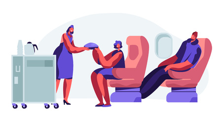 Cabin of Plane with Stewardess and Passengers, Mealtime in Economy Class. Woman, Man on Seats. Hostess with Food Cart in Aisle of Salon. Comfortable Journey, Jet Trip. Cartoon Flat Vector Illustration