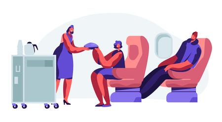 Cabina de Avión con Azafata y Pasajeros, Comidas en Clase Económica. Mujer, Hombre en Asientos. Azafata con carrito de comida en pasillo del salón. Viaje cómodo, viaje en jet. Ilustración de Vector plano de dibujos animados Ilustración de vector