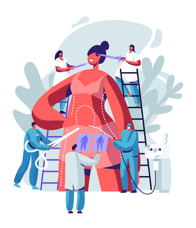 Woman Preparing for Plastic Surgery. Doctor Characters Drawing Lines on Body and Put Injections in Face, Liposuction and Cosmetics Procedure. Beauty Medicine Industry. Cartoon Flat Vector Illustration Vettoriali