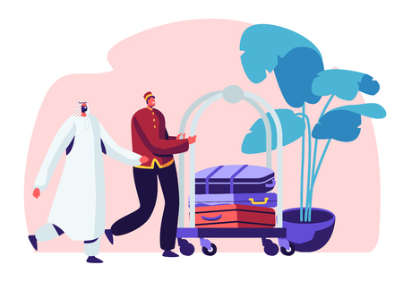 Hotel Stuff Meeting Arabic Guest in Hall Carrying Luggage by Cart. Muslim Businessman Stay in Guesthouse for Vacation or Business Trip Appointment and Reservation Room Cartoon Flat Vector Illustration Archivio Fotografico - 123180167