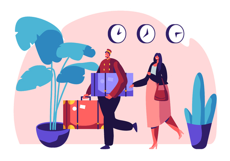 Clerk in Uniform Meeting Woman in Hotel Lobby Helping to Carry Baggage. Hospitality Service, Tourist at Reception Arrive and Booking Room. Visitor, Guest Accommodation Cartoon Flat Vector Illustration Ilustrace