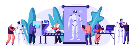 Engineers Characters Making and Programming Robots. Robotics Hardware and Software Engineering in Laboratory with Hi-Tech Equipment. Artificial Intelligence Technology Cartoon Flat Vector Illustration