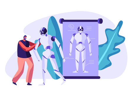 Robotics Engineering. Young Cheerful Man Holding Huge Cyborg by Hand. Robots in Human Life, Artificial Intelligence Futuristic Technology Development and Science. Cartoon Flat Vector Illustration