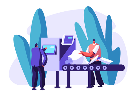 Engineers Male Characters Set Up Parts of Robot on Conveyor Belt. Artificial Intelligence Develop and Assembly Technology. Cyborg Creating Process in Laboratory. Cartoon Flat Vector Illustration