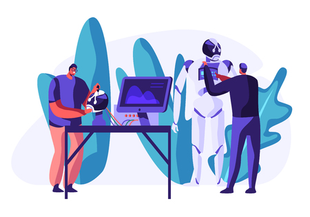 Engineers Scientists Male Characters Making and Programming Huge Robot in Science Laboratory. Robotics Hardware and Software Science Engineering. Development Company. Cartoon Flat Vector Illustration
