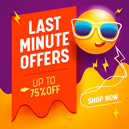 Last Minute Offers Banner with Cute Cartoon Humanised Sun Wearing Sunglasses on Abstract Gradient Background, Summer Holiday Festive Shopping and Discount Poster for Store Promo. Vector Illustration