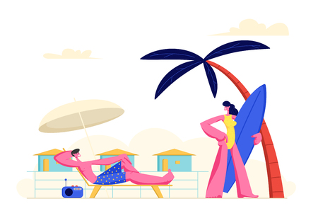 Young Couple Spending Vacation on Beach. Woman Going to Seaside with Surf Board, Man Relaxing on Chaise Lounge Taking Sun Bath. People Characters Summer Holidays Relax Cartoon Flat Vector Illustration