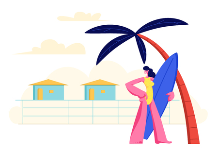 Young Girl with Surf Board in Hands Standing on Sandy Beach under Palm Tree on Resort Lodges Background. Summer Vacation, Traveling Woman Holidays in Exotic Country. Cartoon Flat Vector Illustration Illustration
