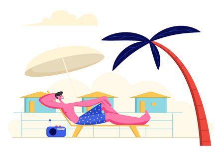 Young Man Lounging and Listening Radio Music on Chaise Lounge under Sun Umbrella and Palm Tree on Sea Beach at Summer Time Vacation. Tourist Relaxing on Seaside Resort Cartoon Flat Vector Illustration