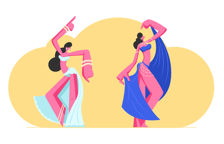 Couple of Young Girls in Beautiful Arabic Dresses and Jewelry Dancing Belly Dance with Raising Hands. Harem Women Swirling Arms and Moving Body in Dance, Artist Hobby. Cartoon Flat Vector Illustration