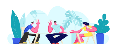 Group of Young People Playing Cards Together on Summer Holiday or Weekend Outdoors Sitting Around Table. Joyful Sparetime in Friends Company, Leisure, Recreation Fun. Cartoon Flat Vector Illustration Illustration
