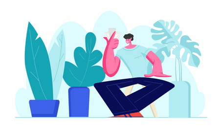 Young Smiling Male Character Sitting at Chair with Cards in Hand Gambling in Friends Company and Playing Board Desktop or Tabletop Games at Home Leisure Activity. Cartoon Flat Vector Illustration