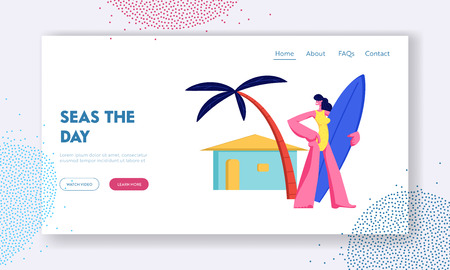 Woman with Surf Board in Hands on Resort Beach under Palm Tree on Summertime Vacation, Travel in Exotic Country, Sport Activity Website Landing Page, Web Page. Cartoon Flat Vector Illustration, Banner