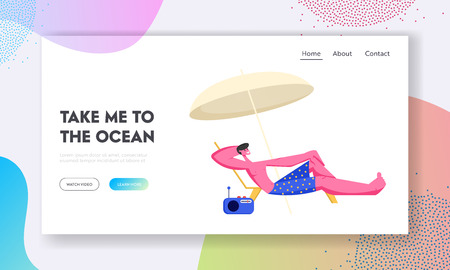 Young Man Lounging on Chaise Lounge under Sun Umbrella on Sea Beach at Summer Time Vacation. Tourist Relaxing on Seaside Resort. Website Landing Page, Web Page Cartoon Flat Vector Illustration, Banner  イラスト・ベクター素材