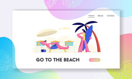 Young Couple Spend Summer Holidays Vacation on Beach. Woman Going to Seaside with Surf Board, Man Relaxing on Chaise Lounge. Website Landing Page, Web Page. Cartoon Flat Vector Illustration, Banner
