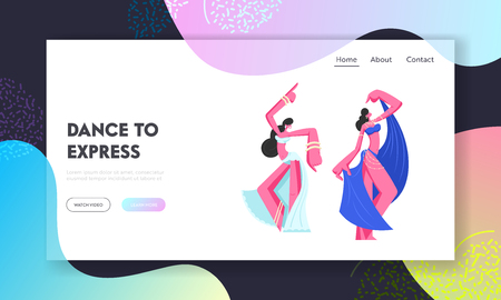 Women Girls in Arabic Dresses and Jewelry Dancing Belly Dance. Harem Women Swirling Arms and Moving Body in Dance, Artist Hobby Website Landing Page, Web Page. Cartoon Flat Vector Illustration, Banner
