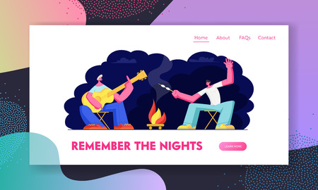Friends Sitting at Campfire in Night Time with Guitar Frying Marshmallow. Tourists Company in Summer Camp. Traveling Leisure Website Landing Page, Web Page. Cartoon Flat Vector Illustration, Banner Иллюстрация