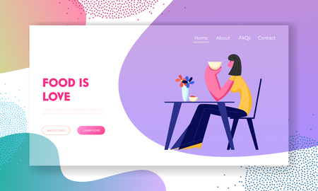 Young Woman Sitting at Table Holding Coffee Cup in Hands Drinking Beverage. Girl Have Relaxing Sparetime in Restaurant or Cafe. Website Landing Page, Web Page. Cartoon Flat Vector Illustration, Banner